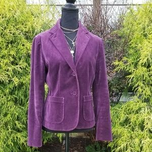 Gap Purple Stretch Velvet 2 Bottom Blazer Sz6